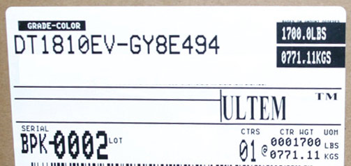 Box label for Ultem--DT1810EV-GY8E494 virgin pellet