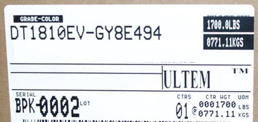 Box label for Ultem--DT1810EV-GY8E494 virgin pellet